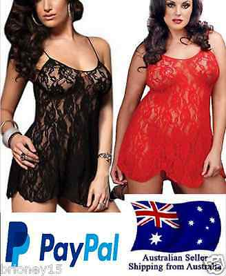 Sexy Lace Baby doll Sleepwear SZ 10-14 +G-string Black or Red +Free Post HOT!!!!
