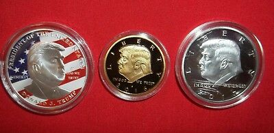 3x Pres. Donald Trump Make America Great Silver/Gold Plated 3 Novelty Art-Coins