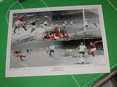 Sir Geoff Hurst & Martin Peters Dual Signed England 1966 World Cup Final Montage