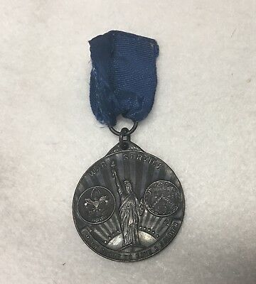 Vintage 1918 WWI Liberty Loan Medal BSA Boy Scouts Named War Service US Treasury
