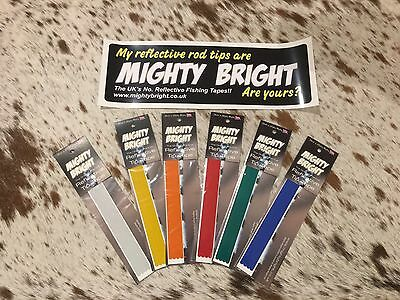 "Mighty Bright Reflective tip tape - 12""/305mm ORIGINAL RANGE for Sea fishing Rod"
