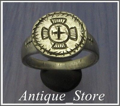 Ancient Silver Byzantine  Ring ** JESUS CROWN of THRONS and CROSS **