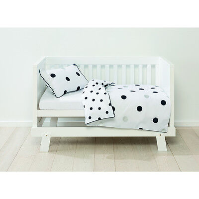 Baby Bedding Cot Quilt Cover Set Pillowcase Nursery Reversible Polka Dots