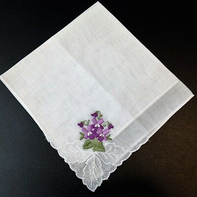 As New - Violet Floral Embroidered  - White Cotton Handkerchief  - Rosdale