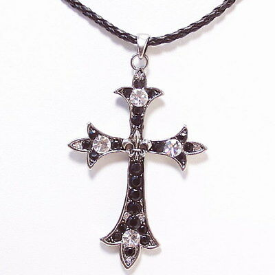 Large Black Victorian Vintage Style Cross Pendant Leather Lariat Necklace New