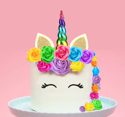 Unicorn Rainbow Horn & Flowers  XL EDIBLE Wafer Cake Cupcake Topper STAND UP