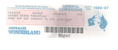 Ginger Meggs Promotion General Admisions 1986/87 Australia's Wonderland ticket