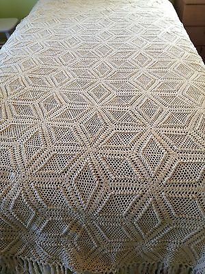 Vintage Hand Made Crocheted Throw/Bedspread