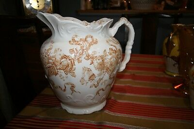 "BrownTransferWare Pitcher Rosedale Furnival England, 11"" tall Flowers Hand Paint"