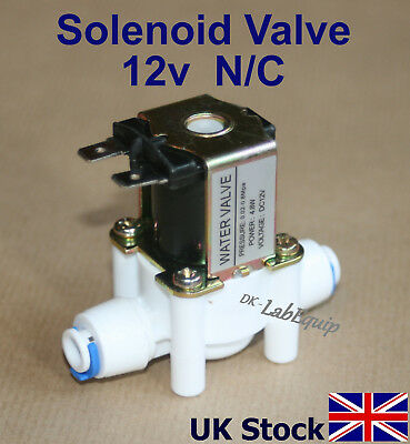 """Solenoid Valve Flow Switch  12v dc  Normally Closed N/C  1/4"""" pushfit - UK Stock"""