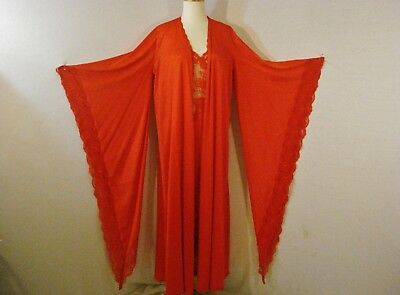 Red Peignoir Bob Mackie for Glydons Nightgown & Robe set. Glam Hollywood Chic SM