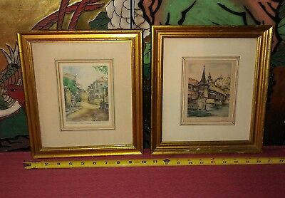Pair of Antique European Color Etchings Pencil Signed With Gold Frames