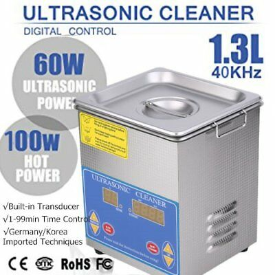 Ultrasonic Cleaner 1.3 L Liter Stainless Steel Industry Heated Clean Glasses QC