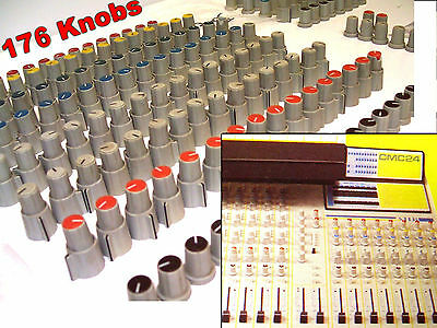 176x AHB CMC24 - Mixing Desk ROTARY KNOBS 6-8 mm Full Set -Vintage Mixer Console