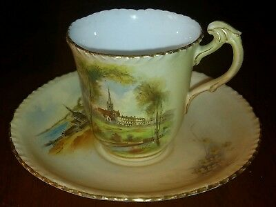 Rare Antique Royal Worcester Small Cup and Saucer c1900 - Scenes of Bournemouth