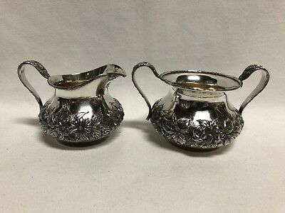 S Kirk & Sons Hand Decorated Repousse Miniature Open Sugar & Creamer No Mono 418