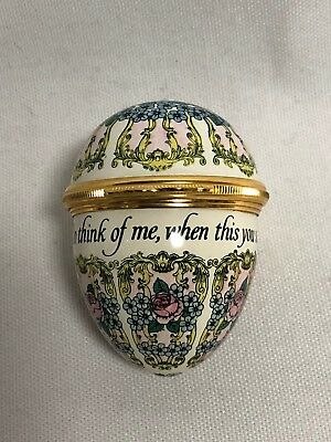 Halcyon Days Enamel Do Think of Me When This You See Trinket Box Egg