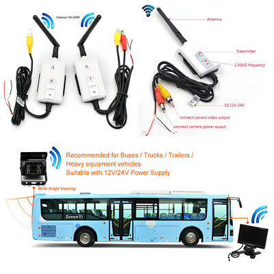 2.4G Wireless AV Cable Transmitter&Receiver For Car SUV Video Monitor 200m Range
