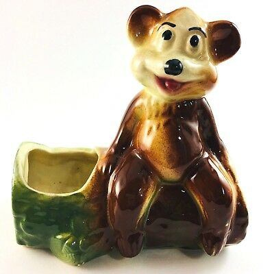 American Bisque Planter Bear On A Log Airbrushed Wedge Bottom