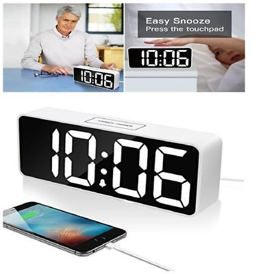 """Large LED Digital Alarm Clock w/ USB Port For Phone Charger Touch-Activited 9"""""""