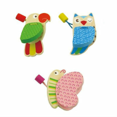 SET OF 3 WOODEN CASTANETS Parrot Owl & Butterfly EDUCATIONAL Music Toy GIRL BOY