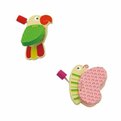 2 x WOODEN CASTANETS Parrot & Butterfly MUSIC GIFT FOR GIRL BOY NON TOXIC 12mth+