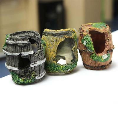 Fish Tank Aquarium Design Barrel Resin Ornament Cave Furnishing Landscaping Deco