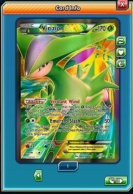 DIGITAL Virizion EX Full Art 96/101 Plasma Blast Pokemon TCG Online