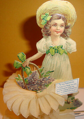 1919 Valentine-Used As Found As Is Girl With Crepe & Basket Of Forget Me Nots