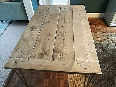 Reclaimed upcycled scaffold shabby chic vintage coffee dining tables on hairpin