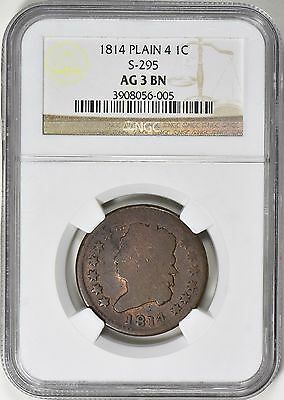 1814 Classic Head Large Cent NGC AG03 S-295