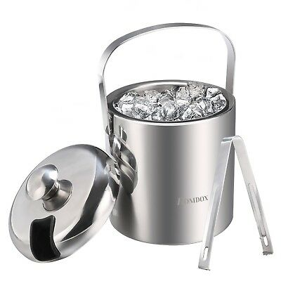 Premium Stainless Steel Double Wall Ice Bucket with Removable Lid and Tongs
