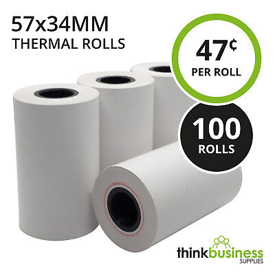 100 x Thermal 57x34mm Premium EFTPOS Receipt Paper Rolls for Cash Registers
