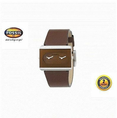 FOSSIL JR9400 Women Boy Rectangle Steel Watch DUAL TIME Brown Leather Wood Dial