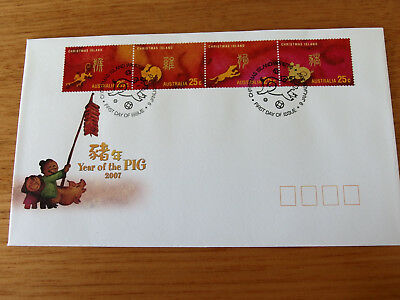Christmas Island 2007  Year of The Pig ( 4 X 25c joined) FDC