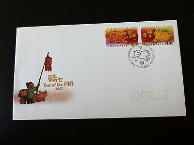 Christmas Island 2007  Year of The Pig ( 50c & $1.45 stamps) FDC
