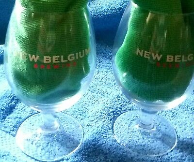 New Belgium Brewing Co  2 Glasses  Tulip Stemmed Bar Snifters- Beer -Mancave Htf