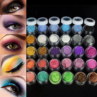 Colorful 30 Colors Eye Shadow Powder Makeup Mineral Eyeshadow + brush Pigment RJ