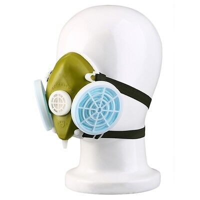 Dual Respirator Gas Mask Anti-Dust Twin Chemical Spray Paint Safety Headwear RJ