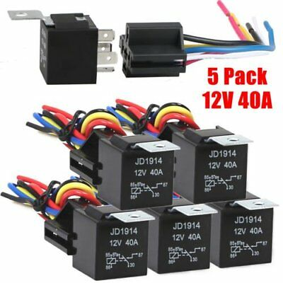 5pcs 30/40 Amp 5-Pin SPDT 12V Automotive Relay w/ Wires & Harness Socket Set QC