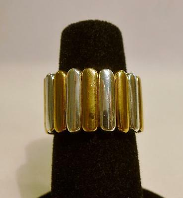 Pretty Vintage Yellow & Silver Tone Stretch Band Ring. Size 8. Nice!!