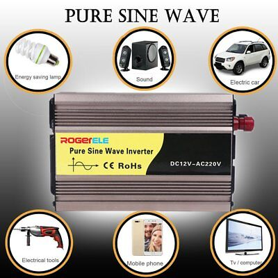 600W (4000W Max) 12V-240V Pure Sine Wave Car Power Inverter W/ USB Charger V9