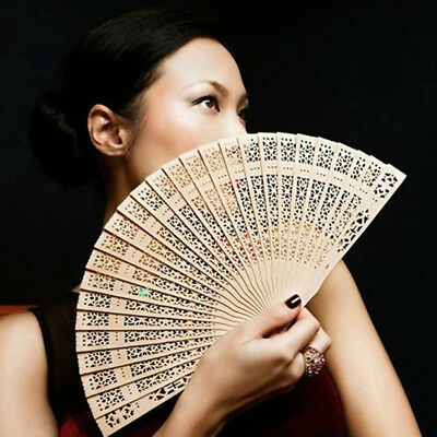 Vintage Folding Chinese Traditional Bamboo Wood Fragrant Hand Fan Wedding Exotic