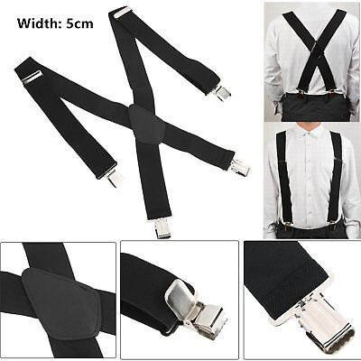 5CM Men's Color X-Back Clip Suspenders Adjustable Elastic Retro Formal Dress Q9