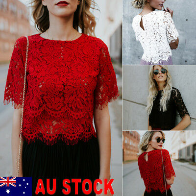 AU Fashion Women Lady Summer Short Sleeve Lace Loose Casual Blouse Tops T-Shirt