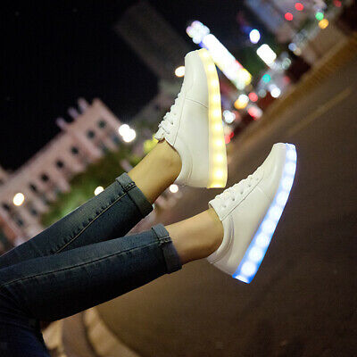 Blesiya LED Couples Light Up Lace Up Flat Shoes Luminous Sneakers Casual Trainer