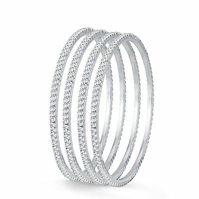 Indian Trend Silver Plated 4 Bangles Set_2.8