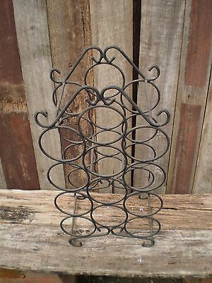 Vintage Retro Wrought Iron 12 Bottle Wine Rack