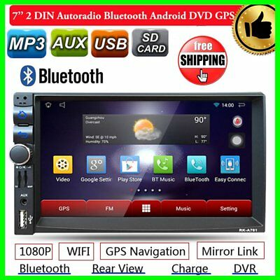 "7"" 2DIN Autoradio Stereo Media Player WIFI Bluetooth Android GPS USB 1G+16G BK"