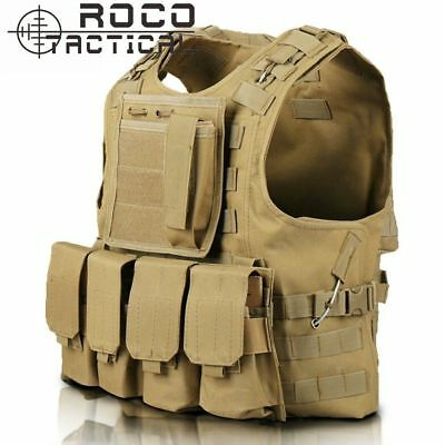 Tactical Military Vest SWAT Police Airsoft Molle Combat Assault Plate Carrier QU